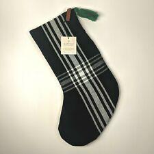 Hearth and Hand Magnolia - Christmas Stocking - White/Black Plaid w/Green Tassel