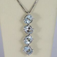 NECKLACE WHITE GOLD 750 - 18K, PENDANT AQUAMARINE OVAL CT 3.20 CHAIN VENETIAN