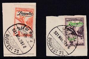 HUNGARY 1931 USED SET #C24/25 AIRMAIL, ZEPPELIN OVERPRINT !!