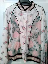 COACH JACKET WOMEN ROSE FLORAL REVERSIBLE WATERPROOF PINK SIZE L, LARGE