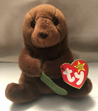 Rare Retired Ty Beanie Baby - Seaweed the Otter - Pvc Pellets - Tag Errors - New