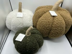 New Pottery Barn Cozy Pumpkin Pillows S/3 Ivory, Tobacco,Loden Fall Thanksgiving