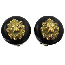CHANEL Lion Motif Earrings Gold Black Clip-On 94A France Vintage Auth #U555  I