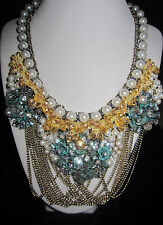 Betsey Johnson Patina and faux pearls multi chain statement Necklace