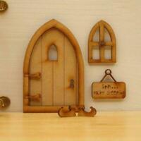 3D Holzfee Gartentür Handgemachte Tür Dekor Miniatur Fee Puppenhaus DIY S9F8