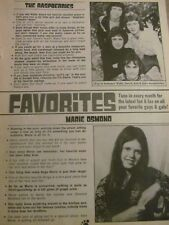 Marie Osmond, The Raspberries, Full Page Vintage Clipping
