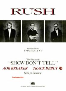 """1989 Rush """"Show Don't Tell"""" Song Release Music Industry Promo Trade Reprint Ad"""