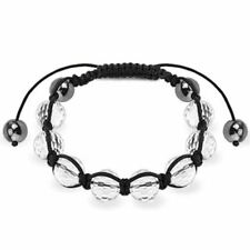 WOMENS / MENS SHAMBALLA BRACELET CLEAR GLASS FACETED AND METALIC BEADS