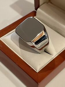 Men's Chunky Silver Square Signet Ring Pinky Stainless Steel Heavy Bold Plain