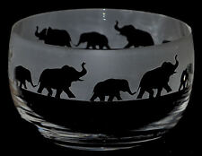 ELEPHANT GIFT ~ Boxed 12.5cm CRYSTAL GLASS SWEET BOWL with ELEPHANT Frieze