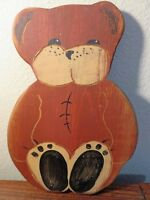 "Wolf Creek Folk Art / Primitive Wooden 10"" Teddy Bear Wall Art - Artist Signed"