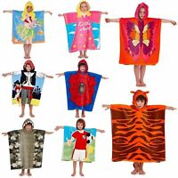 Childrens Kids Boys Girls Novelty Hooded Poncho Swimming Swim, Bath, Beach Towel
