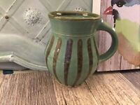EM Smith Pottery Mug Massachusetts Studio Cummington Stripes Green/blue Gift