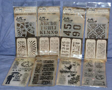 Tim Holtz Stampers Anonymous Stamps and Stencil Lot: 8 PACK-new!  LOOK!!