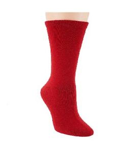 Passione Mens Red Cashmere Blend Cushioned Foot Luxury Crew Socks One Size