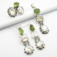 #7.5 Pendant Earrings Set 3 Pcs Gift 925 Silver Biwa Pearl & Green Apatite Ring
