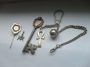 ANTIQUE VINTAGE MASONIC SOLID SILVER BALL AND OTHER ITEMS