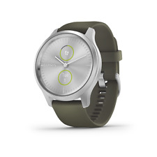 Garmin Vivomove Style Silver with Moss Green Band Hybrid Smartwatch
