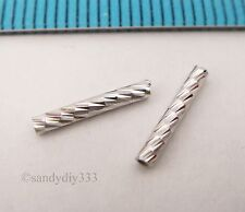 20x RHODIUM plated STERLING SILVER LASER CUT TUBE SPACER 10mm 1.5mm BEAD #2471
