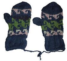 Winter GLITTEN - Pink Green Blue Handmade Pakistani Wool - Flip Glove Mitten C8