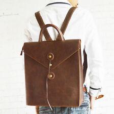 2016 Mens retro Leather Messenger Shoulder Laptop book  Backpack Briefcase Bag