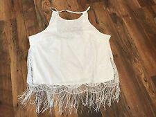 Ivory Lace strappy top - Plus size 18-20, BNWT - tassle hem - boho/festival chic
