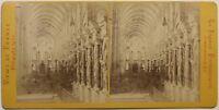 Cattedrale Da Reims Interno Francia Foto Stereo n3 Vintage Albumina c1870