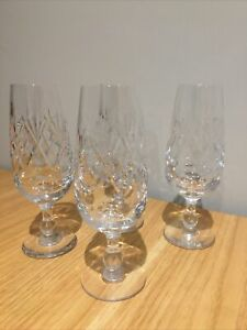 4 X Royal Doulton Georgian Design Crystal Champagne Flutes/ Glasses Signed