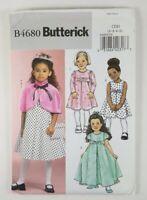 Butterick Girls Sizes 2 3 4 5 Dress Pattern 4680 Capelet Purse Long Short UNCUT