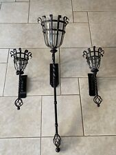 TALL Set Spanish Revival Torchiere Wall Sconces Antique Vtg Replic Candle Holder