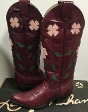 Larry Mahan Women's Western Boots Purple Leather with Flowers 6150  size US 5