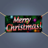 Merry Christmas Banner, Outdoor Holiday Party Decor Hanging Vinyl Sign, 3' X 2'