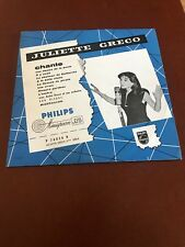 """Juliette Greco - Chante * Philips P-76020 Holland 10"""" Rare"""
