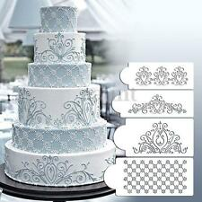 4PCS Prinecess Stencil Flower Fondant Cake Stencil Cookie DIY Cookie Craf Decor