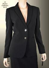 TAHARI Women SZ 8 BLACK 2PC Two-Piece Skirt Suit 2 GOLDEN BUTTON Knee NWT$280
