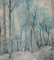 ARTIST SIGNED ORIGINAL WATERCOLOR PAINTING OF FOREST WITH PEOPLE WALKING