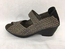 Bernie Mev 'Halle' Wedge Bronze Stretch Sandal Bronze Mary Jane 38 US 7-7.5