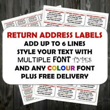 Personalised Sticky Return Address Labels Mini Or Large Add Text Any Colour Q