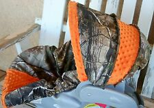 Realtree camo & orange minky infant car seat cover and hood Cover