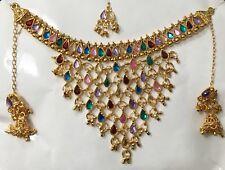 Bollywood Gold Tone Choker Style Kundan Women Designer Necklace Jewelry Set