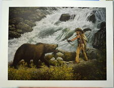 INDIAN WARRIOR FACING BROWN BEAR Limited Edition Print by Frank D Miller