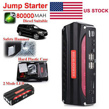 80000mAh 4USB Multi-Function Car Jump Starter Power Bank Rechargable Battery US