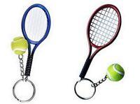 2 grand porte-clés, bijoux de sac raquette bleue et rouge + balle de tennis