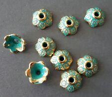 12pcs-9mm Patina gold tone bead caps, patina flower beads caps