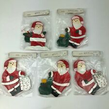 Vintage Wood Hand Painted Christmas Santa Ornament - Lot of 5 - New 1990