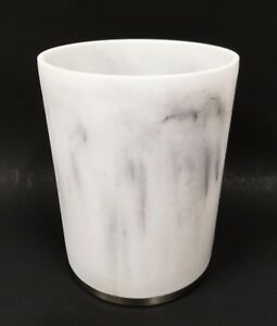 NEW WHITE AND GRAY MARBLE LOOKS ACRYLIC,RESIN TRASH CAN, WASTE BASKET