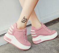 Fashion Women's Lace Up Platform Shoes Hidden High Wedge Heels Casual Sneakers