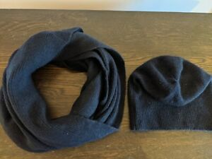 Cos Navy Blue Cashmere Snood and Hat Set