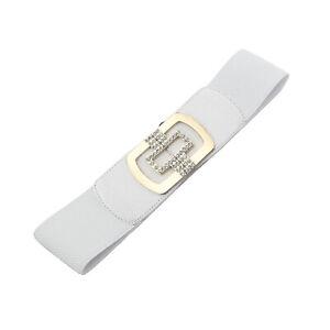 Diamante Belt Gold Buckle Women Wide Waistband Elastic Waist Closure Dress Decor