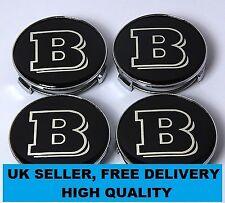 4 Black Mercedes Brabus Centre Caps 75mm Alloy Wheel Badges Emblems Stickers